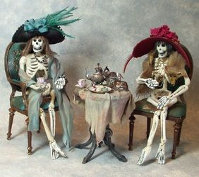 Miniature Skeletons Having Tea